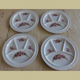 4 Gourmet borden met roze roosjes, Royal Schwabap