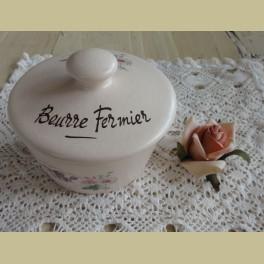Frans keramiek boterpot, boerenboter, Beurre Fermier