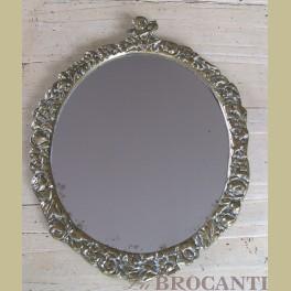 Brocante koperen spiegel met CUPIDO / ENGEL en ROOSJES