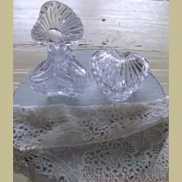 Brocante glazen parfum setje voor badkamer, kaptafel