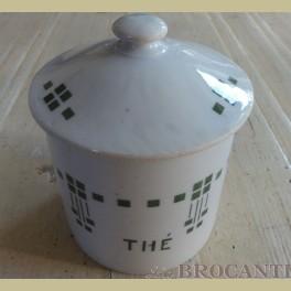 Frans brocante thee voorraadpotje potje met groene blokjes