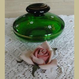 vintage groen glazen schaaltje / potje met witte bloemetjes