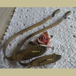 2 Oude Brocante Franse Embrasse Koperen Haken Met Ornamentjes La