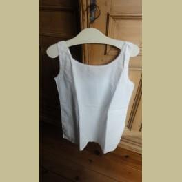 Oud Frans brocante katoenen nachthemd met fijne kanten randjes
