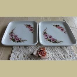 2 Brocante schaaltjes met roze roosjes, Royal Schwabap