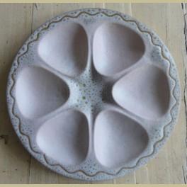 Vintage keramieke roze vakkenschaal, snackschaal