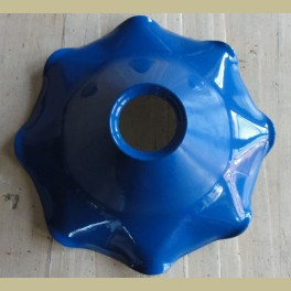 Gegolfd blauw emaille lampenkapje