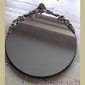 Oude brocante grote koperen ovale spiegel