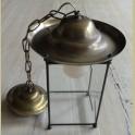 Brocante koperen /messing hanglampje met geslepen glas