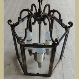 Brocante zeshoekige messing hanglamp met glas
