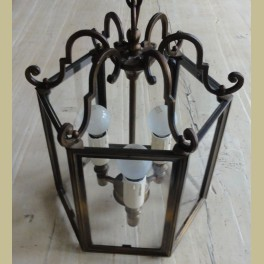 Brocante zeshoekige messing hanglamp met glas - La Brocanti