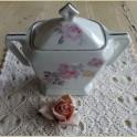 Grote oude Franse suikerpot met roze rozen, Annecy