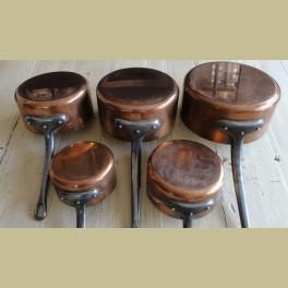 5 Franse brocante koperen steelpannen
