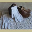 Franse brocante gebreide kinder handschoentjes
