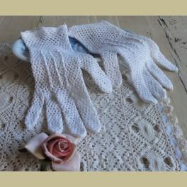 Franse brocante off white gehaakte dames handschoentjes