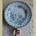 Oud Frans diner bord met vogeltje en bloemen, St. Amand Aubepine