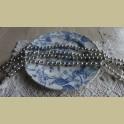 Oude kerstslinger met zilverkleurige dubbele glazen balletjes , 1.68 mtr