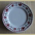 4 Franse ontbijtbordjes bordeaux rode bloemen, St.Amand
