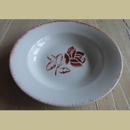 Frans soep bord, bordeaux rode roos, Digoin & Sarreguemines, Rolande