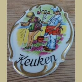 Duits porseleinen deurplaatje, KEUKEN