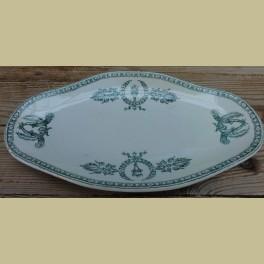 Frans brocante serveerschaaltje, fakkels en kransen, Givors Catalogus Products