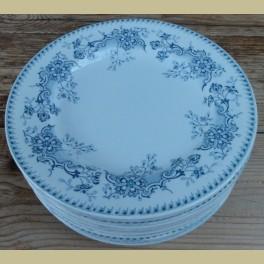 Frans brocante ontbijtbordje met blauwe bloemen