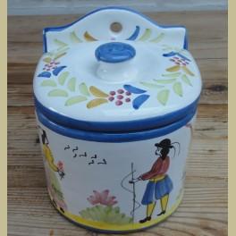 Franse brocante handbeschilderde zoutbak