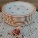 Frans brocante ontbijtbordje met bloemetjes en peach rand