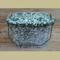 Frans groen / witte brocante emaille lunchbox