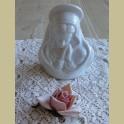 Wit porseleinen Maria beeldje / theelichtje