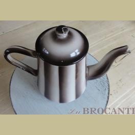 Oude bruin gestreepte emaille koffiepot / theepot