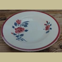 Frans brocante soep bord met rozen, Badonviller