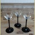 Franse wijnglazen met zwarte voet, Luminarc, middel
