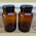 2 Bruine glazen apothekers potten met stop , 2 Liter