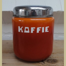 Oude oranje emaille koffie bus