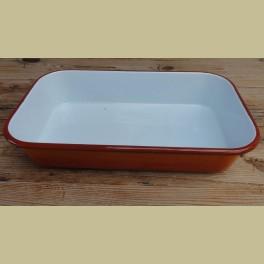 Oranje emaille braadslede / ovenschaal met rode rand
