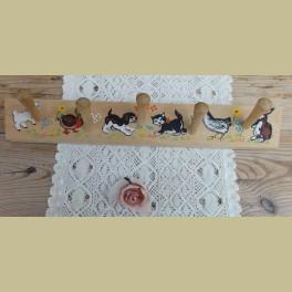 Vintage houten kinder kapstokje, dieren