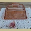 Roze glazen botervloot / kaasstolp