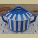 Oude Franse blauw gestreepte suikerpot, Sarreguemines, Foxtrott