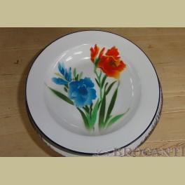 Emaille bord met bloemen