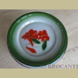 Emaille bord met bloemen rood groen