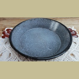 Frans brocante bruin / grijs gewolkt emaille pannetje, 18,8 cm