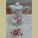 Klein Frans porseleinen koffiepotje met roze bloesem