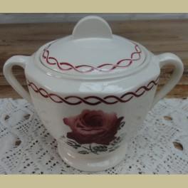 Franse brocante suikerpot met bordeaux rode rozen, Badonviller Rosa