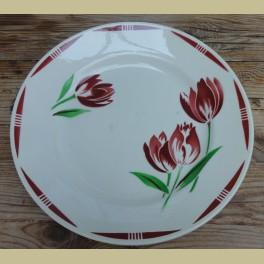 Grote Frans brocante schaal met tulpen, Badonviller