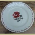 Grote Franse brocante schaal, bordeaux rode rozen, Badonviller Rosa
