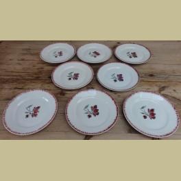 6 Franse diner borden , bordeaux rode bloem, Badonviller