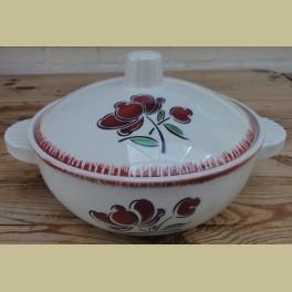 Franse terrine / dekschaal , bordeaux rode bloem, Badonviller