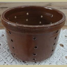 Frans brocante bruine gres kaasmal op pootjes