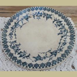 Antiek Frans beboterd ontbijtbordje met blauwe vogeltjes